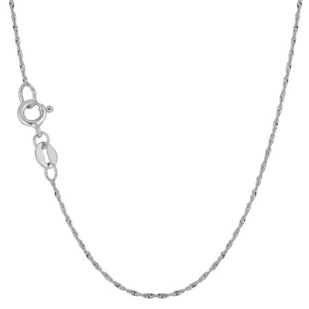 10K White Gold 1mm Singapore Chain Necklace 16