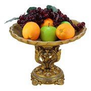 """Ebros Gift Vintage Antique Baroque Design Large Round Bowl Dish 14.5"""" Diameter Dessert Fruit Footed Platter Stand with Electroplated Gold Royal Crown Base Sculpture and Austrian Crystals Centerpiece"""