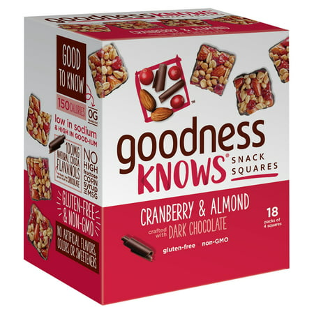 goodnessKNOWS Cranberry, Almond & Dark Chocolate Gluten Free Snack Square Bars, 18 Count -