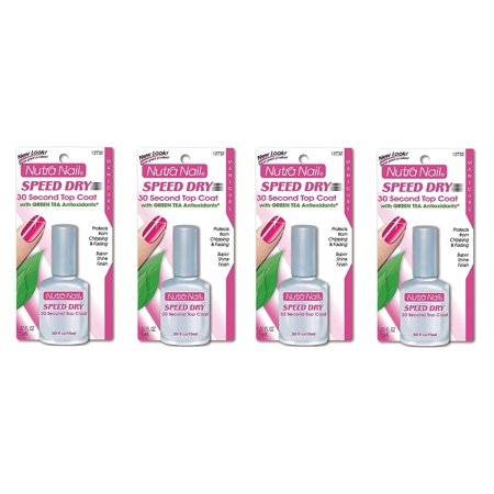 Nutra Nail Speed Dry 30 Second Top Coat with Green Tea Antioxidants (Pack of 4)