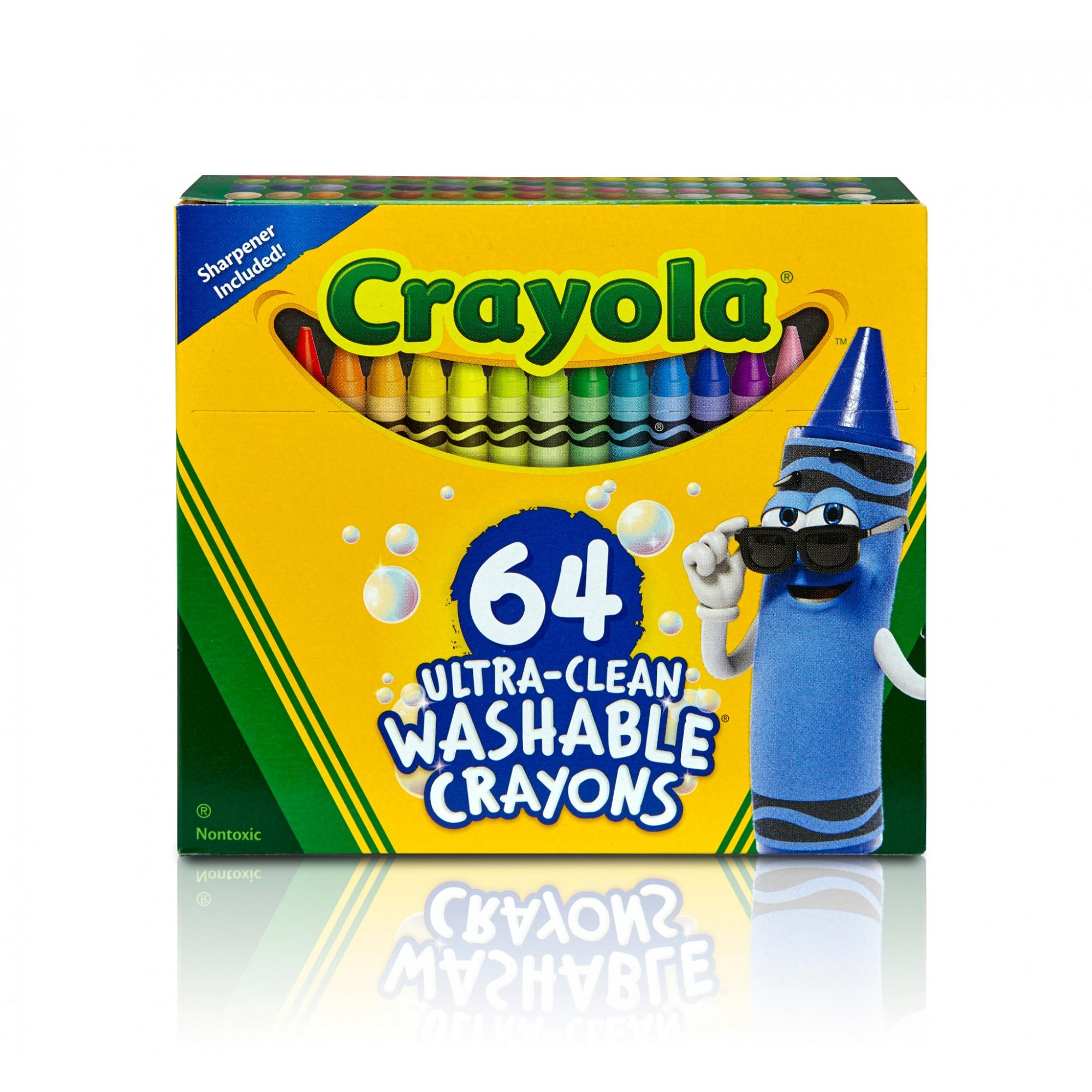 Crayola Ultra Clean Washable Crayons With Sharpener, Bulk Crayons, Great For Coloring Books, 64 Count