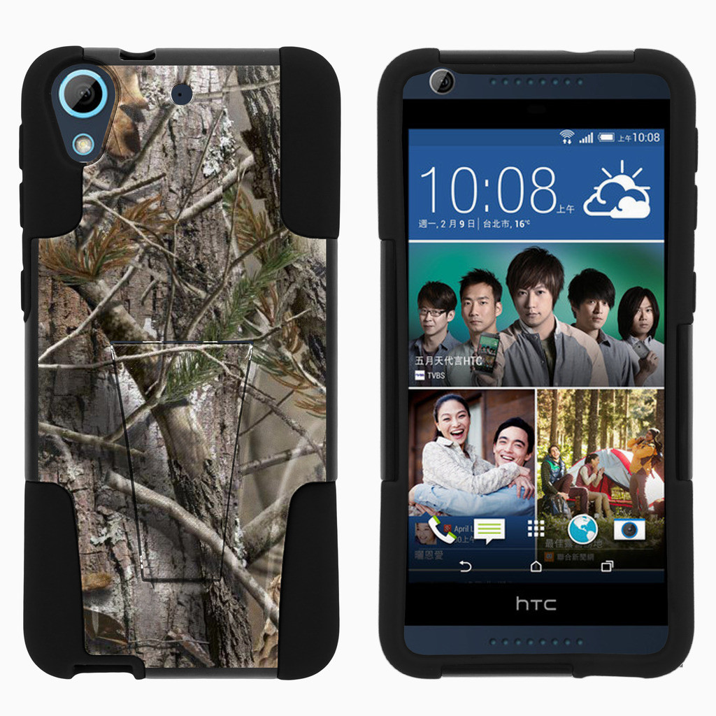 HTC Desire 626 STRIKE IMPACT Dual Layered Shock Resistant Case with Built-In Kickstand by Miniturtle® - Tree Bark Camo