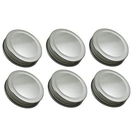 . One Piece Mason Jar Lids 6 Pieces, Silver, 6 pieces, 2.75