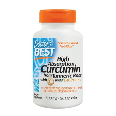 Doctor's Best Curcumin From Turmeric Root, Non-GMO, Gluten Free, Soy Free, Joint support, 500mg Caps with C3 Complex & BioPerine, 120 Veggie