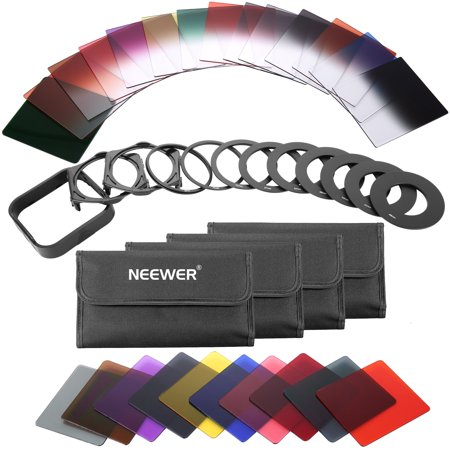 Neewer 40-in-1 Square Graduated Full Color ND Filter Kit Compatible with Cokin P Series Bundle for DSLR Cameras, Adapter Ring Filter Holder and Lens Hood