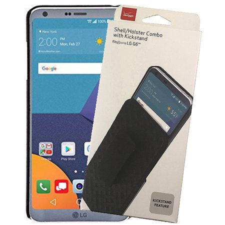 LG G6 Case with Clip, Verizon OEM Original Black [Kickstand] Hard Shell Cover + Belt Hip Holster for LG G6 | LG G6+ | LG G6 Plus (LG VS988, LS993, H872, H870, H871, H872, US997)