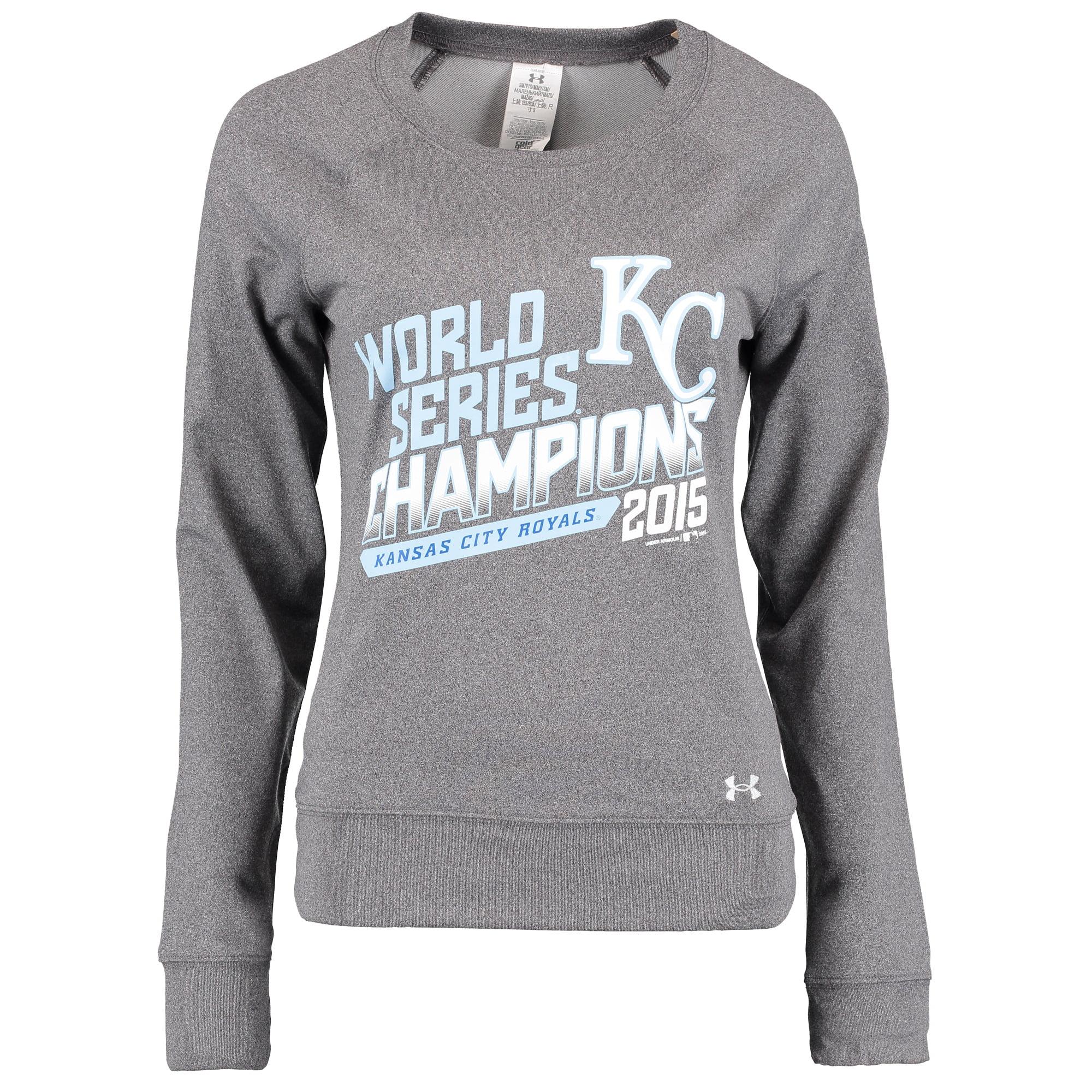 Kansas City Royals Under Armour Women's 2015 World Series Champions Pullover Sweatshirt - Gray - XL