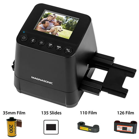 Magnasonic All-In-One Slide & Film Scanner, High Resolution 23MP, Converts 35mm/110/126 Negatives & 135 Slides into Digital Photos, Vibrant 2.4