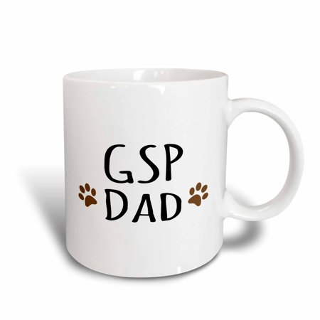 3dRose GSP Dog Dad - German Shorthaired Pointer - short-haired doggie by breed brown paw prints doggy love, Ceramic Mug, 15-ounce