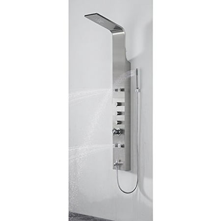 boana #boann bnspa102-bn rainfall stainless steel thermostatic rainfall shower panel with 4 adjustable jets, , brushed nickel