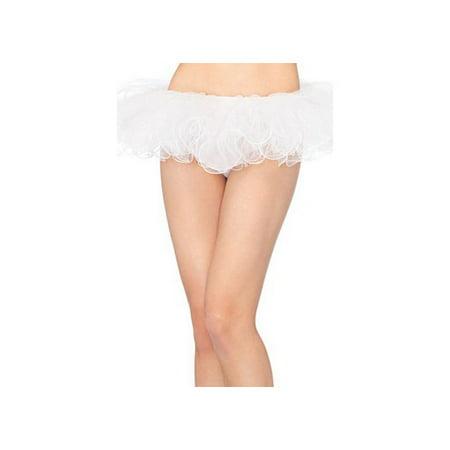 Leg Avenue Petticoat with Pleated Satin Trim, White, One Size