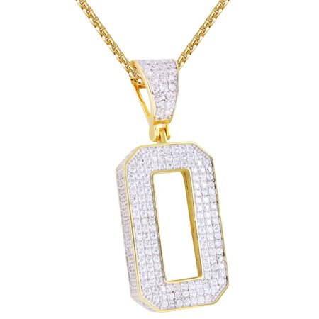 Sports Number Necklace (Hip Hop Number 0 Block Initial 3D Letter Iced Out Sports Pendant)