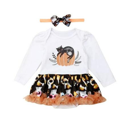 Halloween Pumpkin Stencils Cats (Newborn Infant Baby Girl Clothes Long Sleeve Pumpkin Cat Print Romper Lace Skull Tutu Dress+Headwear Halloween)