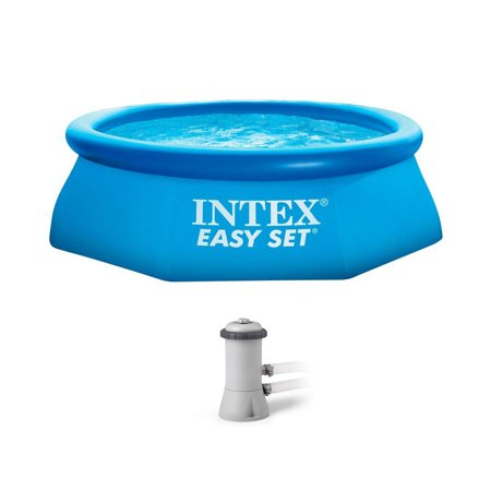 Intex 8 39 X 30 Easy Set Inflatable Above Ground Polygonal Pool With Filter