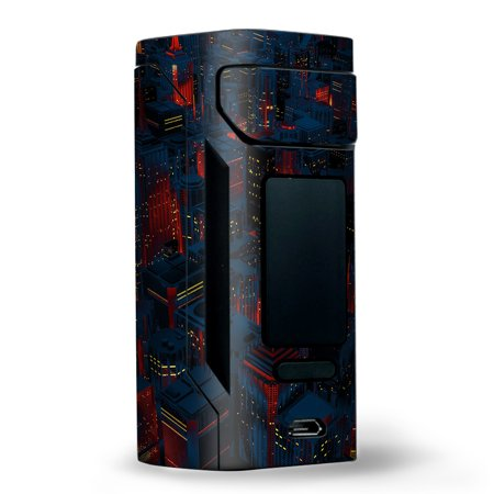 Skins Decals for Wismec Reuleaux RX2 20700 Vape / City Glow at Night Skyline view - Glow City Com