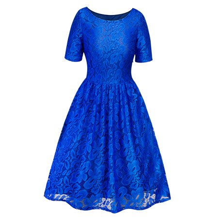 Women Vintage Lace Crochet Dress Short Sleeve Retro 50s 60s Rockabilly Evening Cocktail Party Skater Swing Prom Dresses