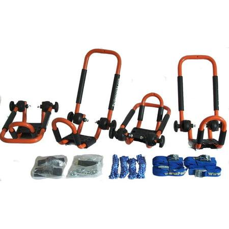 Folding J-style Kayak Rack Roof Top Rack - 2 Sets -In Many Fun Colors (Tangy Orange) (Folding Kayak Rack)
