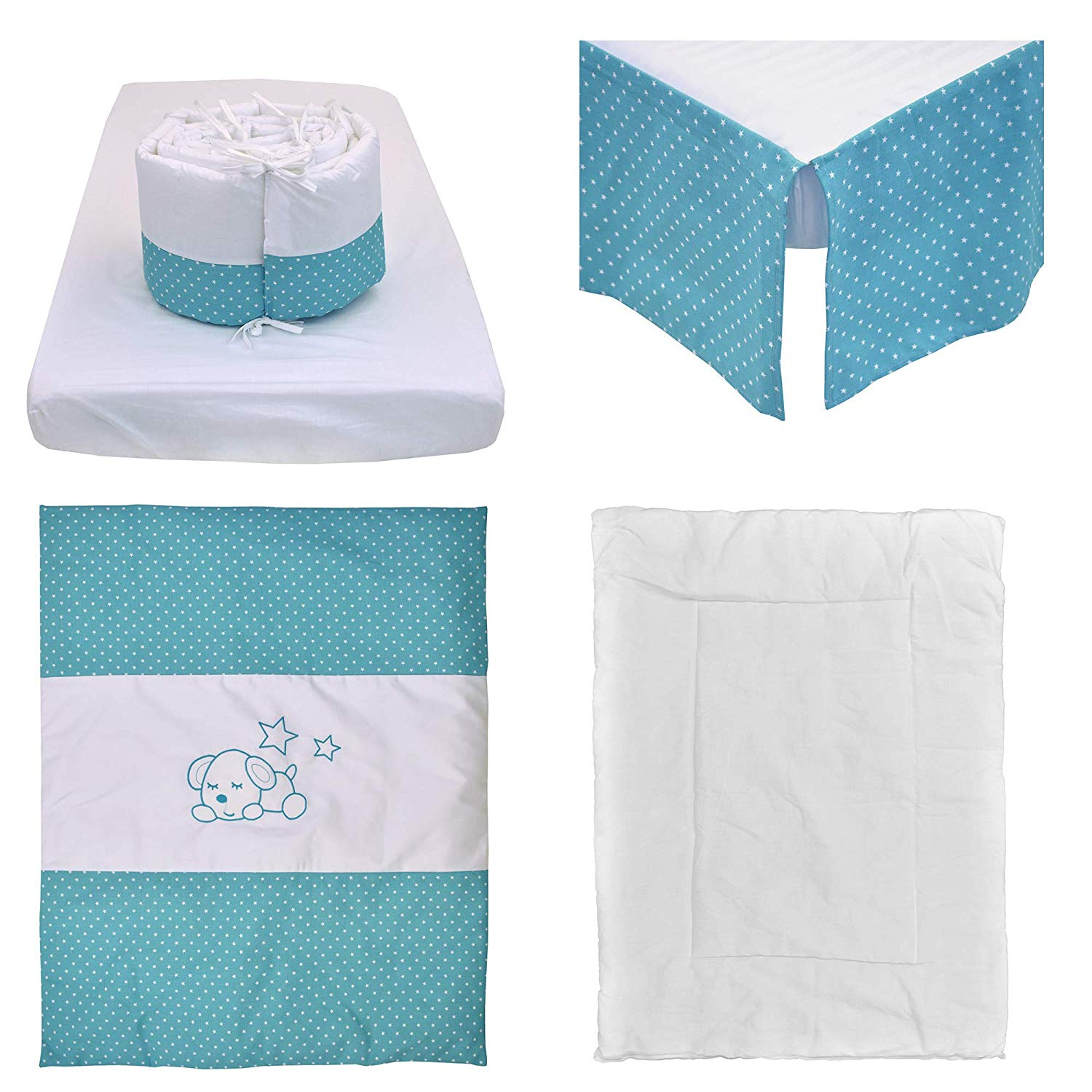 Bebelelo - 5 pieces bedding for baby - turquoise and white with a Sleeping Dog pattern - image 1 of 9