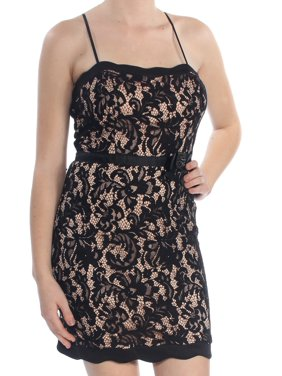 CITY STUDIO Womens Black Lace Spaghetti Strap Square Neck Above The Knee Sheath Cocktail Dress Juniors Size: 9