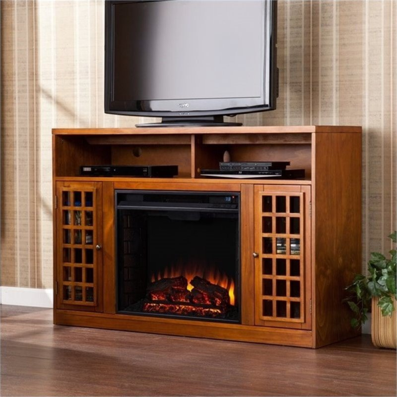 "Bowery Hill 48"" Electric Fireplace TV Stand in Glazed Pine"