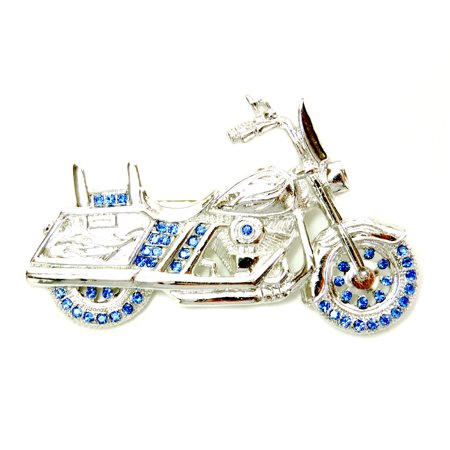 Blue Dragonfly Brooch (Gorgeous Crystal Motorcycle Pin Brooch - Blue)