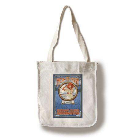 Cotton Womens Bag (Whidbey Island, Washington - Woman Riding Ferry - Lantern Press Artwork (100% Cotton Tote Bag -)