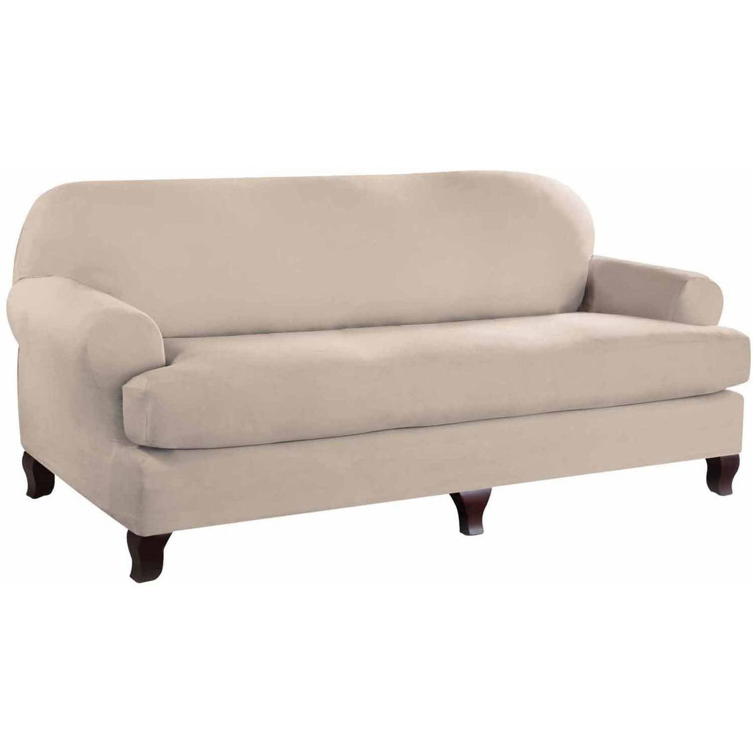 Serta Stretch Fit Microsuede Slipcover Sofa 2-Piece T Cushion - Walmart .com  sc 1 st  Walmart : sectional slipcovers walmart - Sectionals, Sofas & Couches