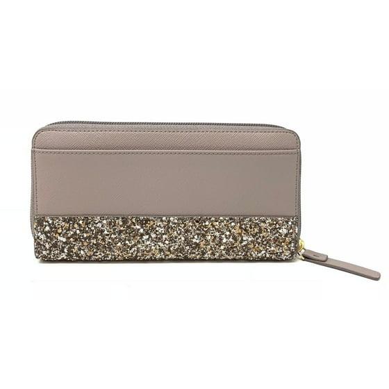 e5f789837 Kate Spade New York - Kate Spade Greta Court Neda City Scape Grey Glitter  Zip Around Wallet WLRU5217 - Walmart.com