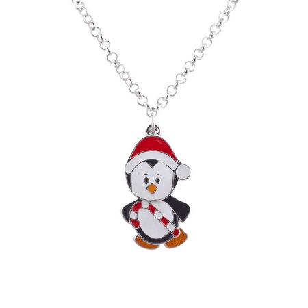 Penguin Charm Pendant - Lux Accessories Silvertone Christmas Xmas Holiday Penguin Santa Pendant Necklace