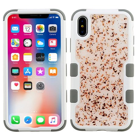 Insten Tuff Flakes Dual Layer [Shock Absorbing] Hybrid Hard Plastic/Soft TPU Rubber Case Cover For Apple iPhone X 10, Gray/Rose Gold (with Anti Blue Ray Tempered Glass Protector)