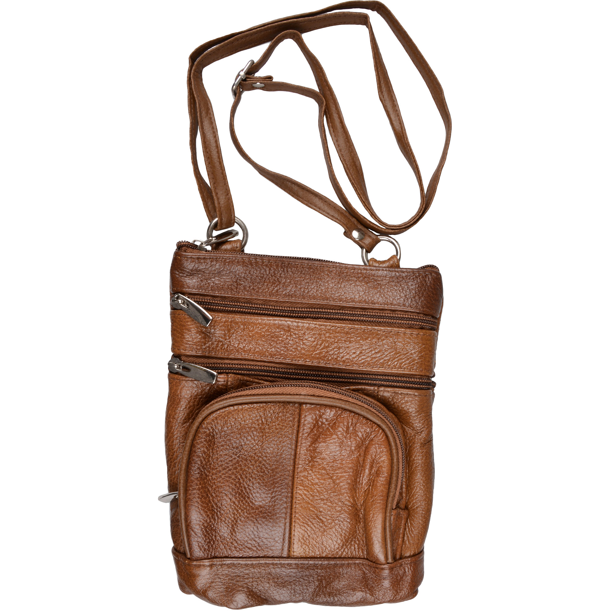 Brinley Co. Genuine Leather Multi-pocket Crossbody Bag