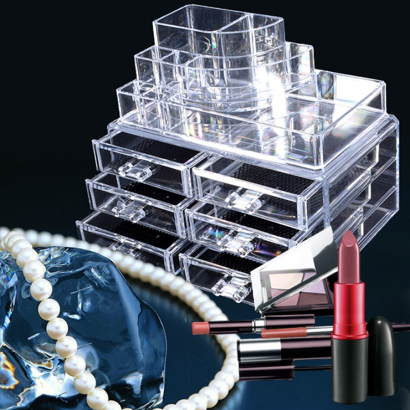 Clear Acrylic Makeup Organizer Drawers Grids Display Box Storage