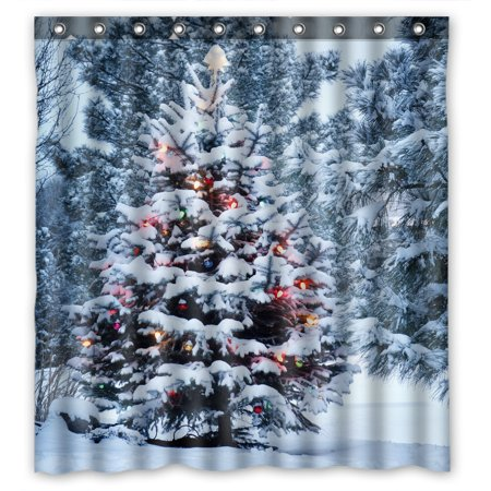 YKCG Snow Covered Christmas Tree Brightly Winter Snowy Scenery Shower Curtain Waterproof Fabric Bathroom Shower Curtain 66x72 -