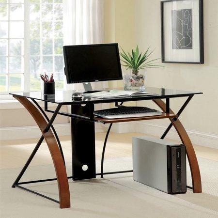 Antique American Oak Furniture - Furniture of America Sirga Oak and Black Glass Modern Computer Desk by FOA