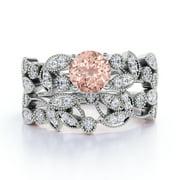 1.34 ct Vintage Round Pink Morganite & Diamond Flower Wedding Ring Set in 10K White Gold