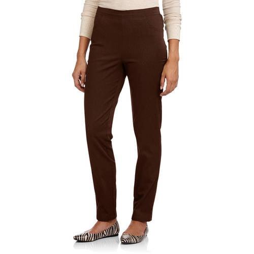 Womens Smart Plain Front Back Elastic Waist bi Stretch 2 Pocket Trouser Black