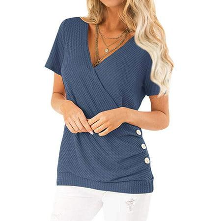 - STARVNC Women Crossed Surplice V Neck Short Sleeve Button Design Casual Tops Shirt