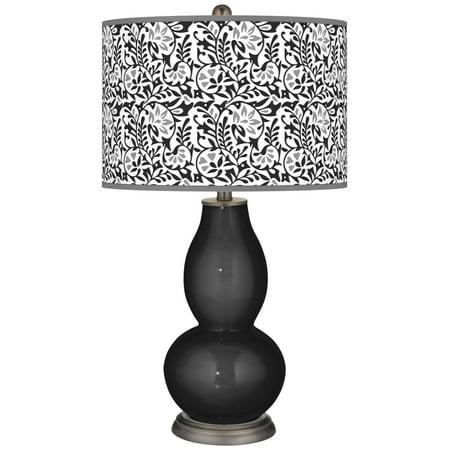 Color + Plus Tricorn Black Gardenia Double Gourd Table Lamp