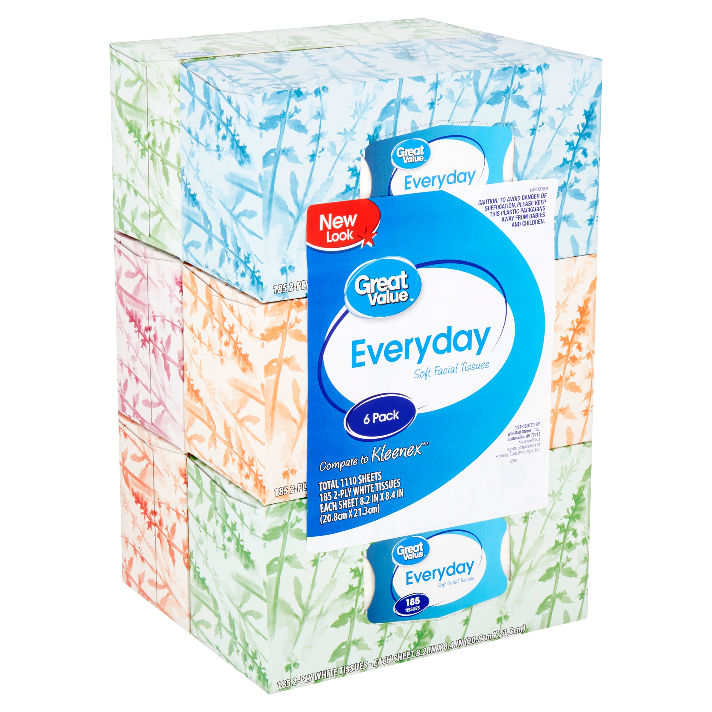 Great Value Everyday Soft Facial Tissues, 2 Ply, 185 Count, 6 Pack