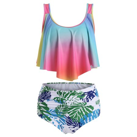 Women Two Piece Swimsuit Bathing Suit Ruffled Racerback Tankini Top with High Waist Ruched Bottom Bikini Set
