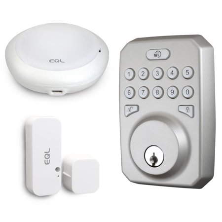 MiEQ Smart HUB, Deadbolt Lock, & Door Sensor Combo, Brushed Nickel Finish (Sensory Lock)
