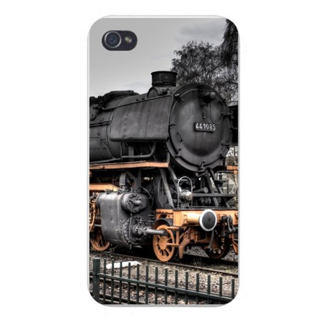 Apple Iphone Custom Case 4 4s White Plastic Snap on - Old Steam Locomotive Train Engine on Tracks Old Steam Locomotives