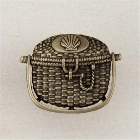 Acorn Manufacturing DPBAP Artisan Collection Nantucket Basket Knob, Antique Brass