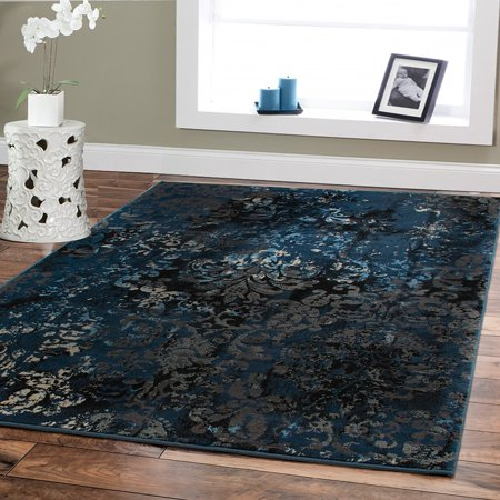 High Quality Premium Rugs 8x10 Black Blue Brown Rugs Under