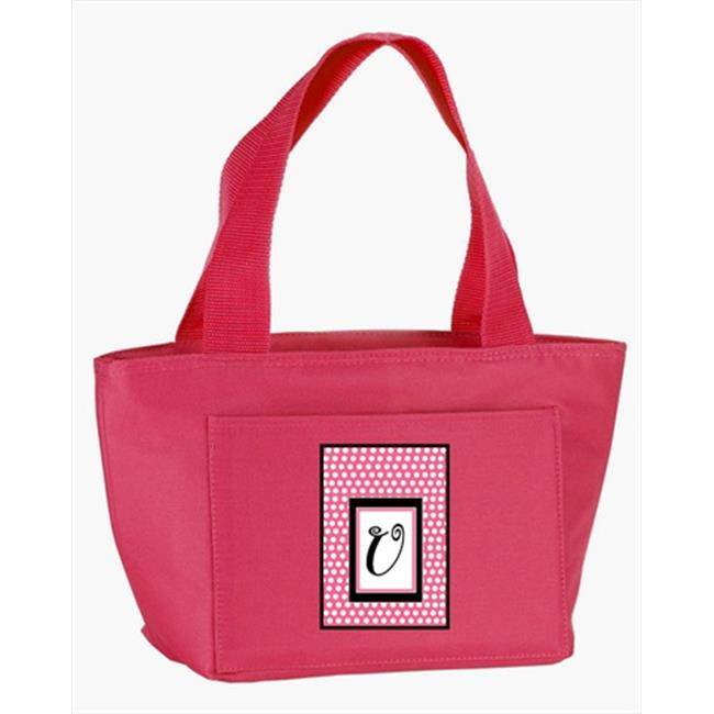 Carolines Treasures CJ1001-U-PK-8808 Monogram Letter U - Pink Black Polka Dots Lunch Bag or Doggie Bag - image 1 of 1