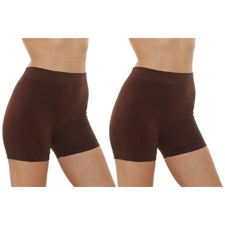 Women's Seamless and Tagless Yoga Exercise Shorts With Soft elastic waistband, 2 Pack Value