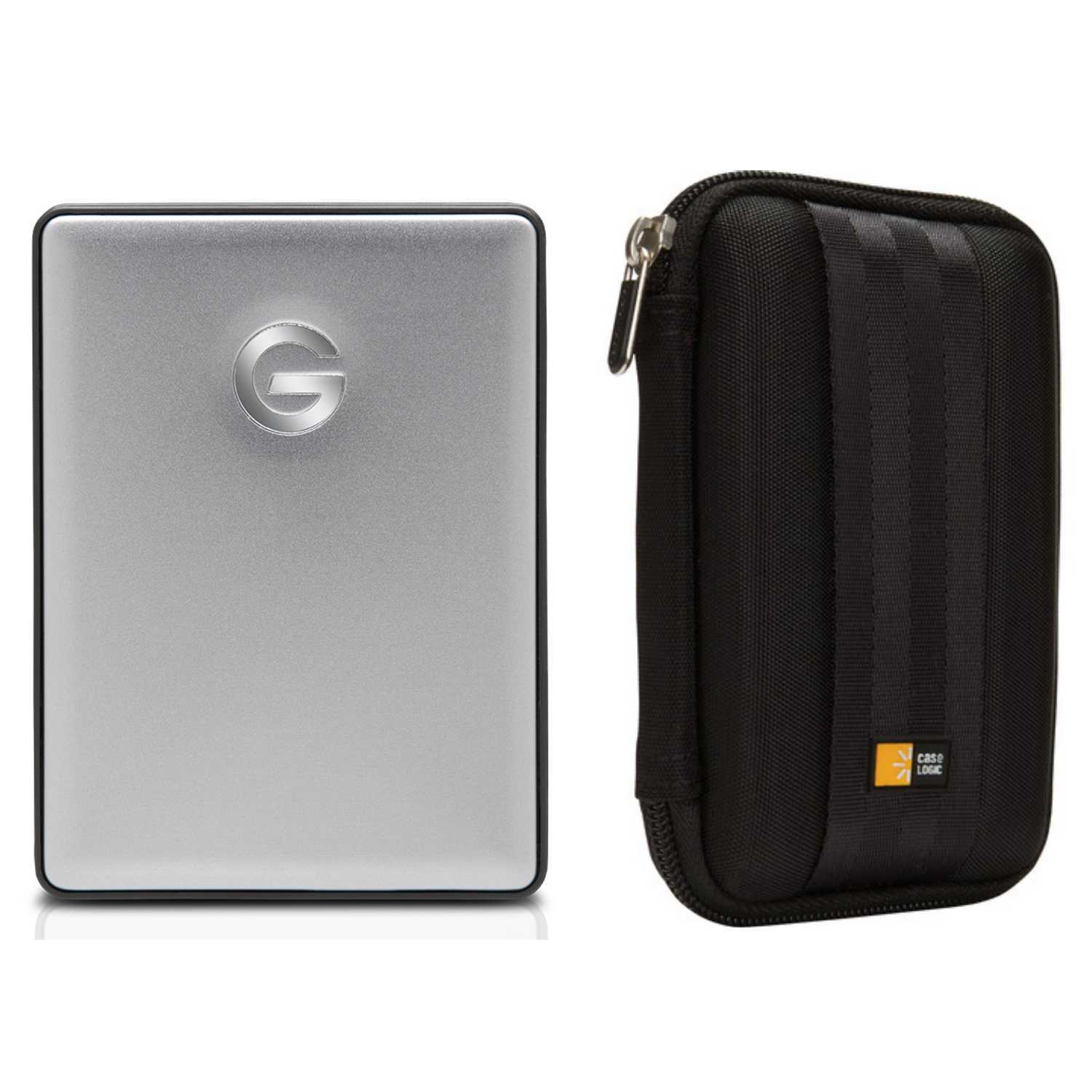 G-Technology G-DRIVE mobile USB-C 1TB Hard Drive (Gray) with Case Bundle