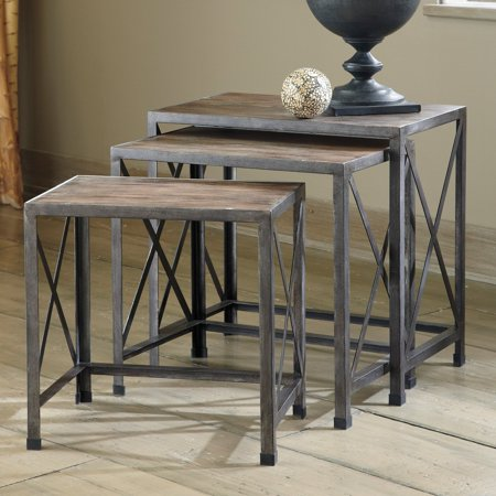 Signature Design By Ashley Rustic Accents Gray/Brown Nesting End Tables - Set of 3