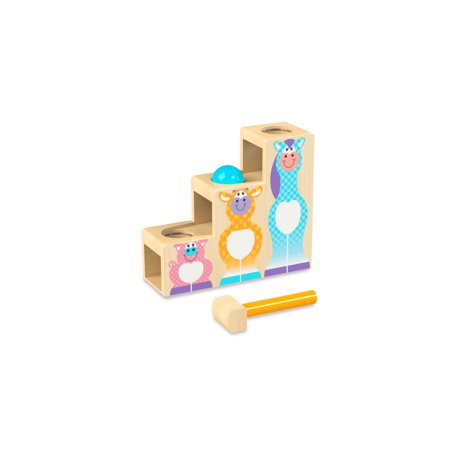 Melissa & Doug First Play Pound and Roll Stairs Wooden 3-Piece Baby Kids Hammer and Ball Toy