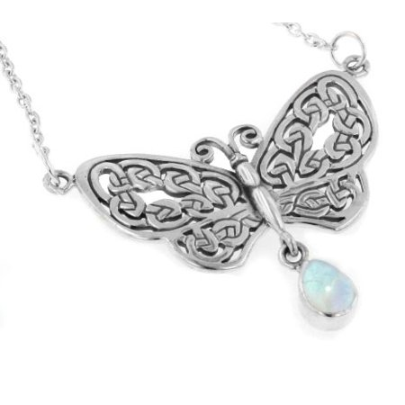 Sterling Silver Celtic Knot Filigree Butterfly with Genuine Rainbow Moonstone Drop 17